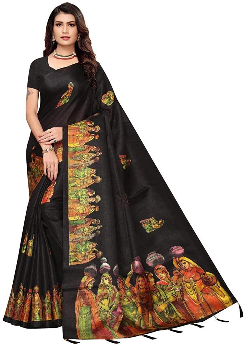 Jazzy Black Colored Festive Wear Printed Khadi Silk Saree with Unstitched Khadi Silk Blouse Piece