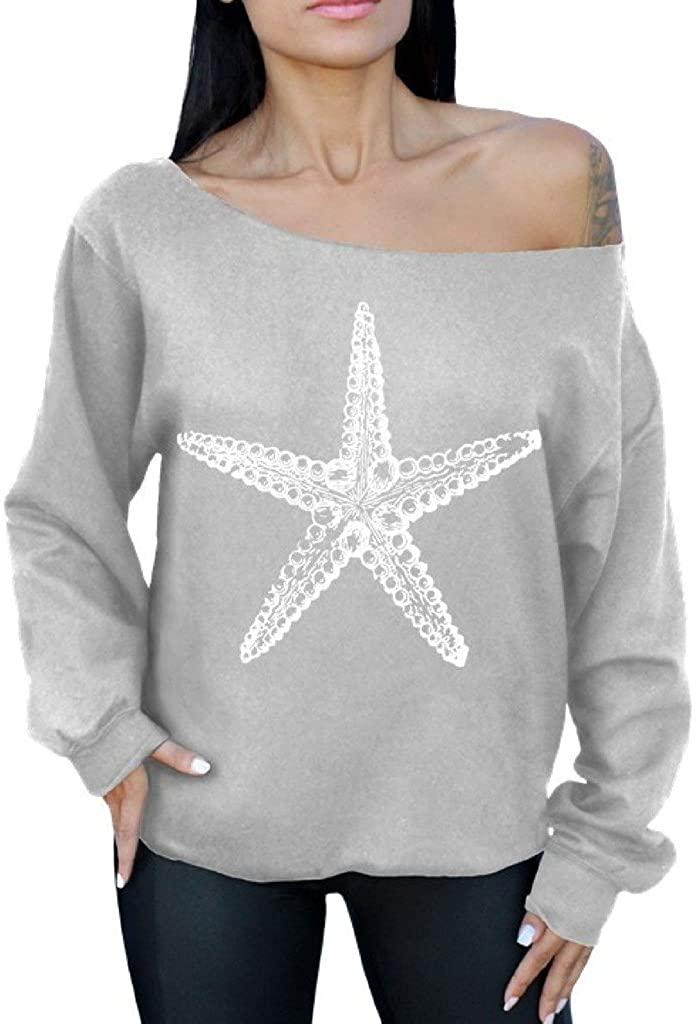 Awkwardstyles Sea Star Off The Shoulder Oversized Sweatshirt White Starfish