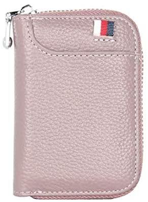 RFID Blocking Credit Card Holder for Men & Women - Leather Travel Zipper Wallet