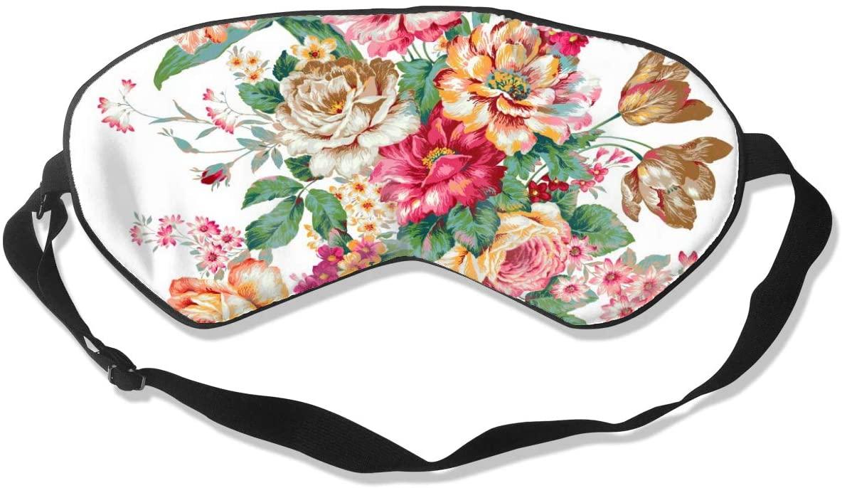 Sleep Mask Eye Blindfold Flowers are Full of Romance Eye Mask Eye Cover Eyeshade Adjustable Blindfold Sleeping Mask for Men Women Lightweight