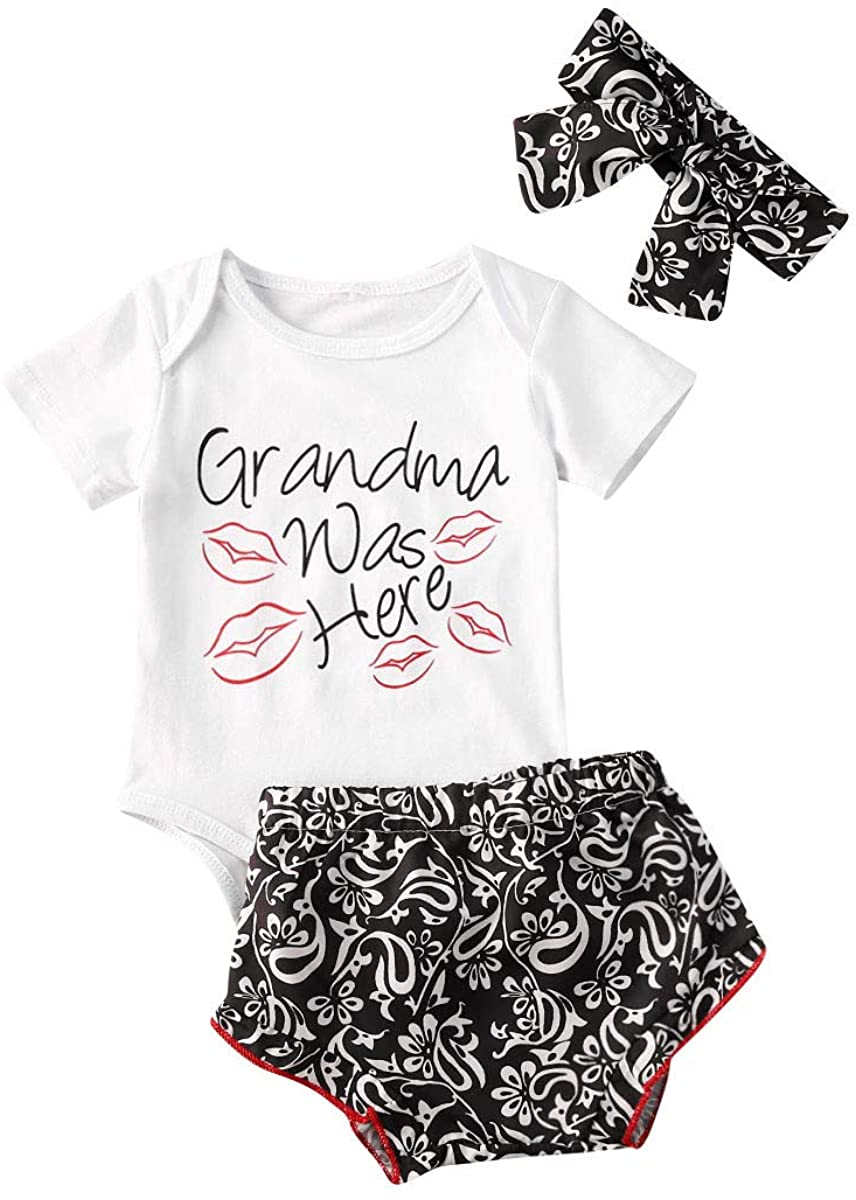 Grandma was Here-Nowborn Baby Boys Girls Kisses Romper Jumpsuit One Piece Bodysuit+Floral Shorts Outfits with Headband