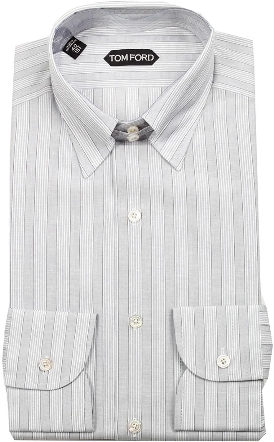 CL - Tom Ford Striped Gray High Collar Dress Shirt Size 40/15,75 U.S.
