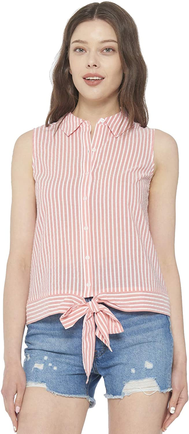 May You Be Women's Summer Casual Cotton Button Down Front Tie Top Shirts