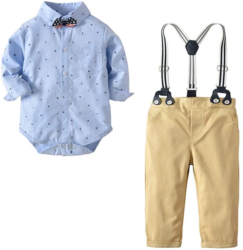 TENMET Baby Toddler Boy Clothes Sets Bow Tie Shirt Romper+Suspenders Pants Suit