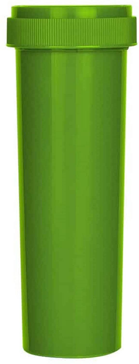 60 Dram, Empty BPA-Free Cylinder Vials with Reversible Child Resistant Caps (Pack of 10) (Green - Opaque)