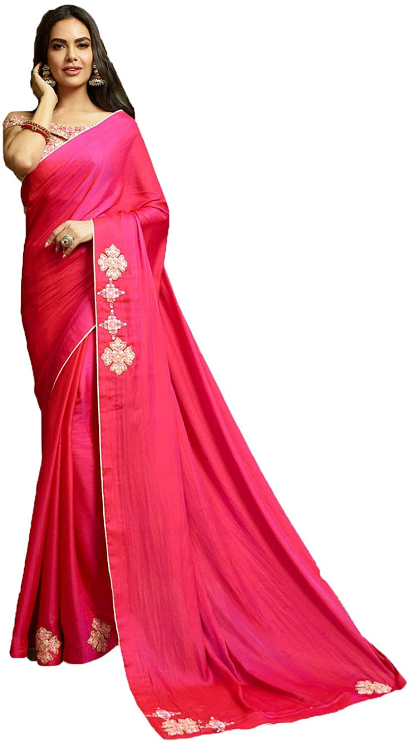 Saree for Women Bollywood Wedding Designer Pink Sari with Unstitched Blouse. ICW2523-8