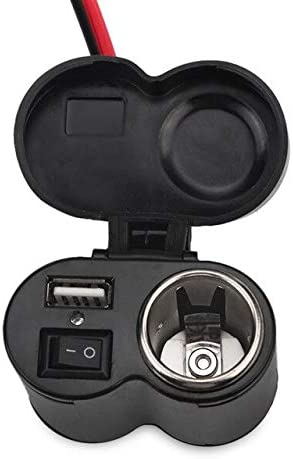 Davitu Cables, Adapters & Sockets - Car Motorcycle Bike Waterproof Cigarette Lighter USB Power Charging Socket 12/24V Cigarette Lighter Socket Charger For Phone GPS - (Color Name: Black)