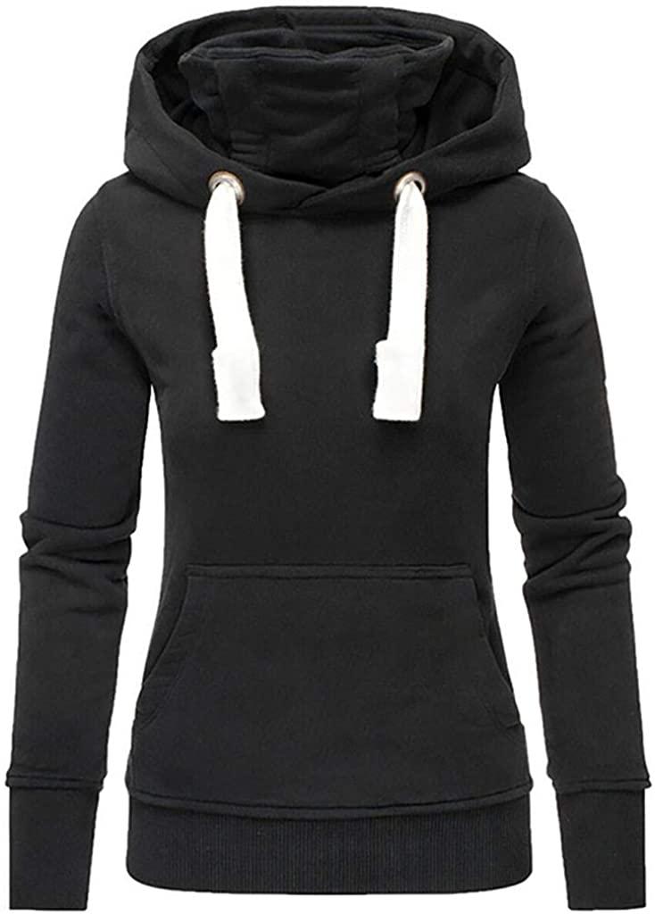 Alangbudu Women Turtleneck Hoodie Pullover Long Sleeve Mountaineering Sweatshirt Tops Sport Tunic Blouse with Pocket