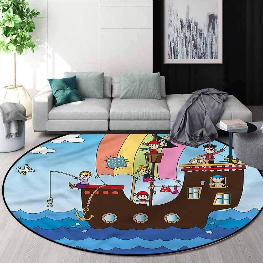 RUGSMAT Pirate Small Round Rug Carpet,Funny Children Adventure Design Non-Slip Fabric Round Rugs for Floor Mat Carpet Round-47