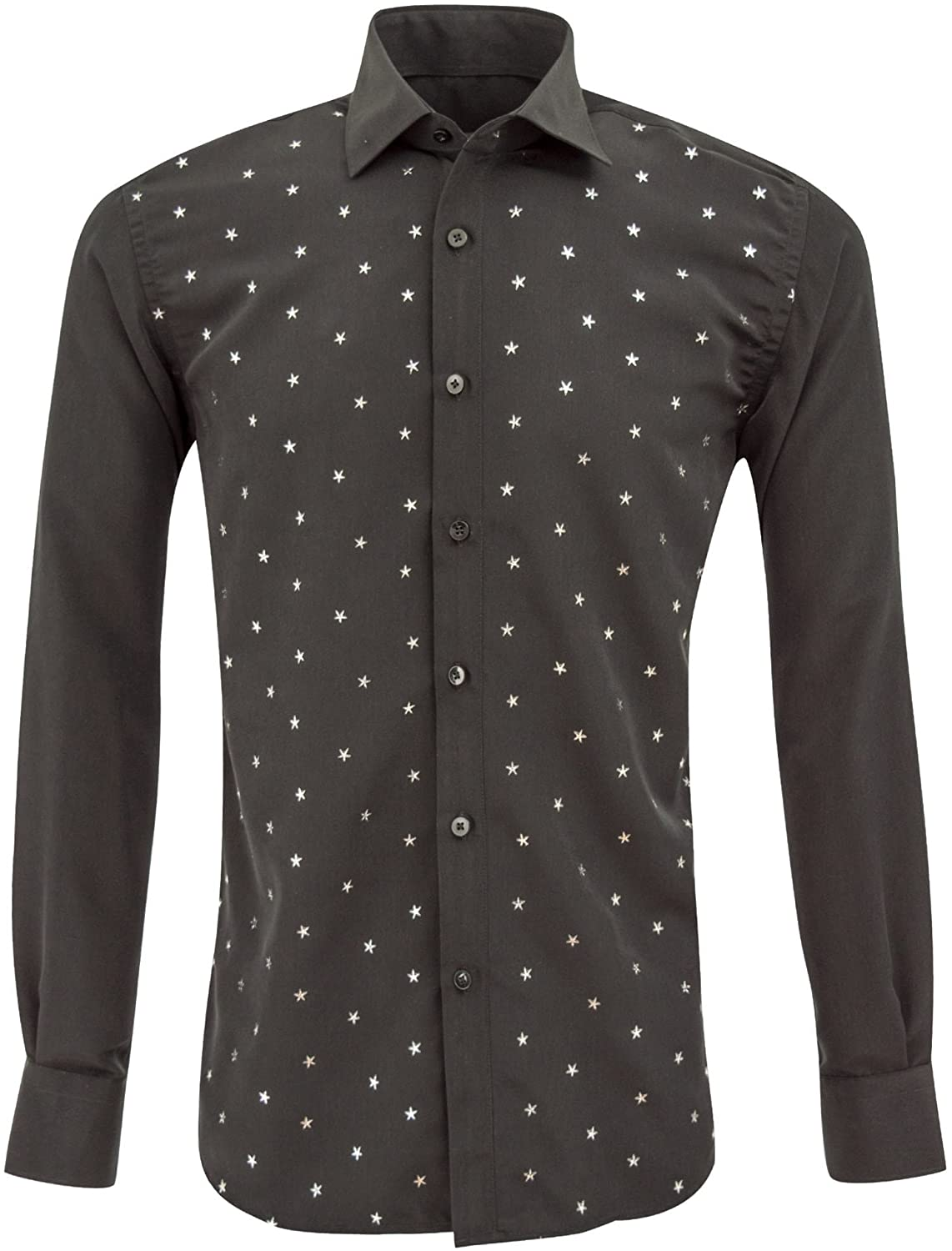 Oscar Banks Metallic Stars Print Full Sleeve Men's Shirt SL6445