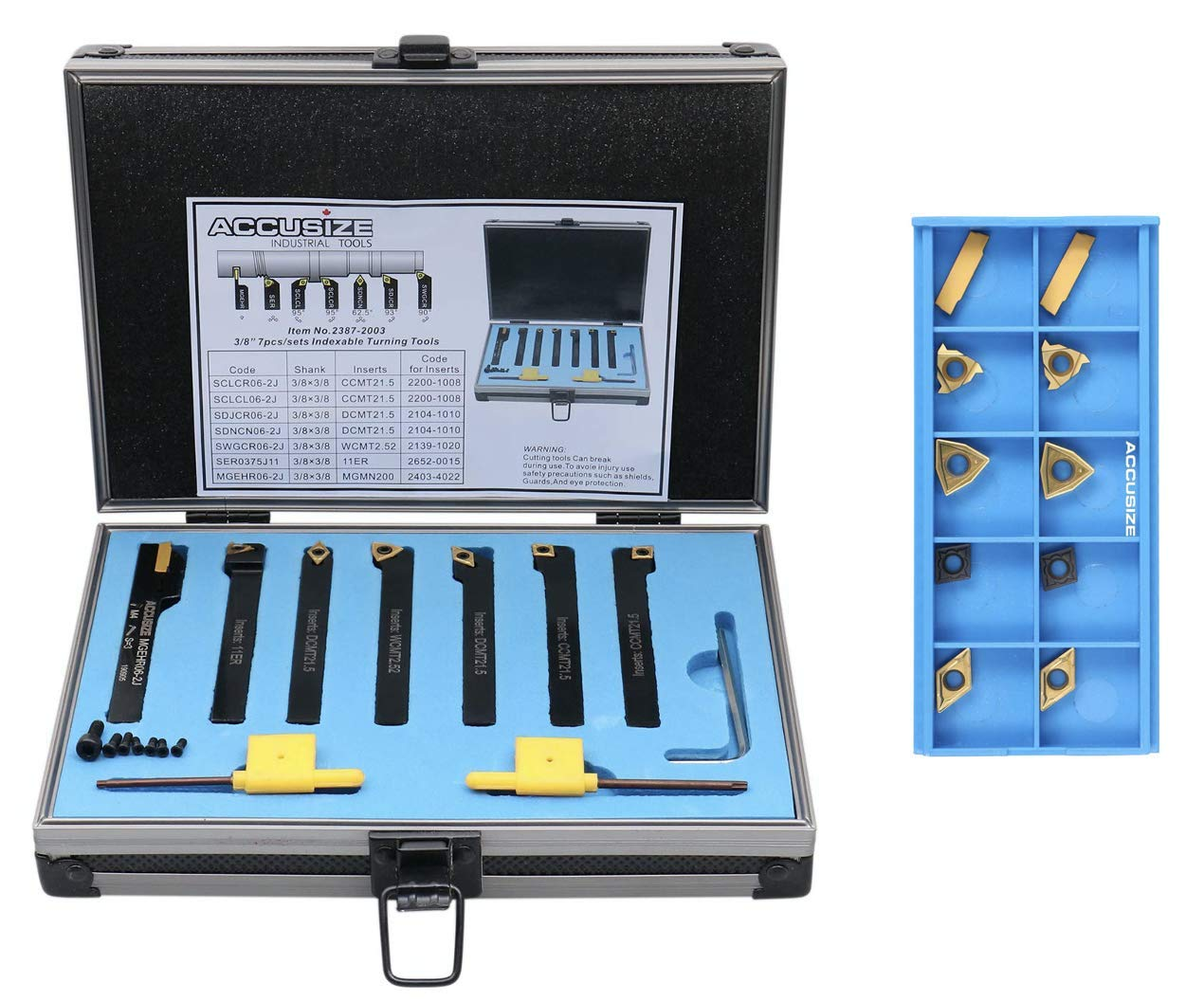 with Extra 10 Carbide Inserts 3/8'' Shank 7 Pc Indexable Carbide Turning Tool