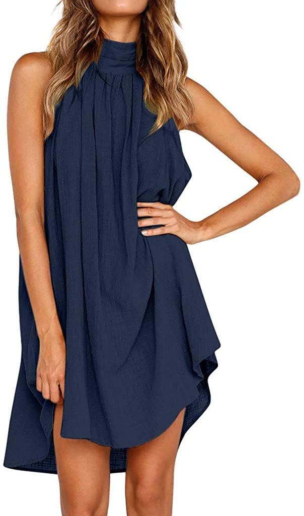 LENXH Ladies Dress Irregular Dress Ladies Summer Dress Sleeveless Beach Skirt Solid Color Dress