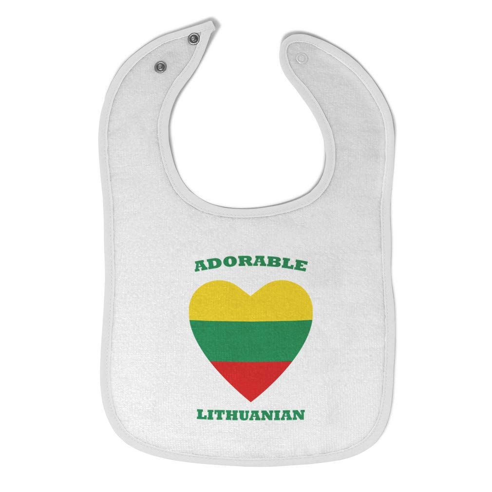 Custom Baby Bibs Burp Cloths Adorable Lithuanian Heart Cotton Baby Items for Baby Girl & Boy White Design Only