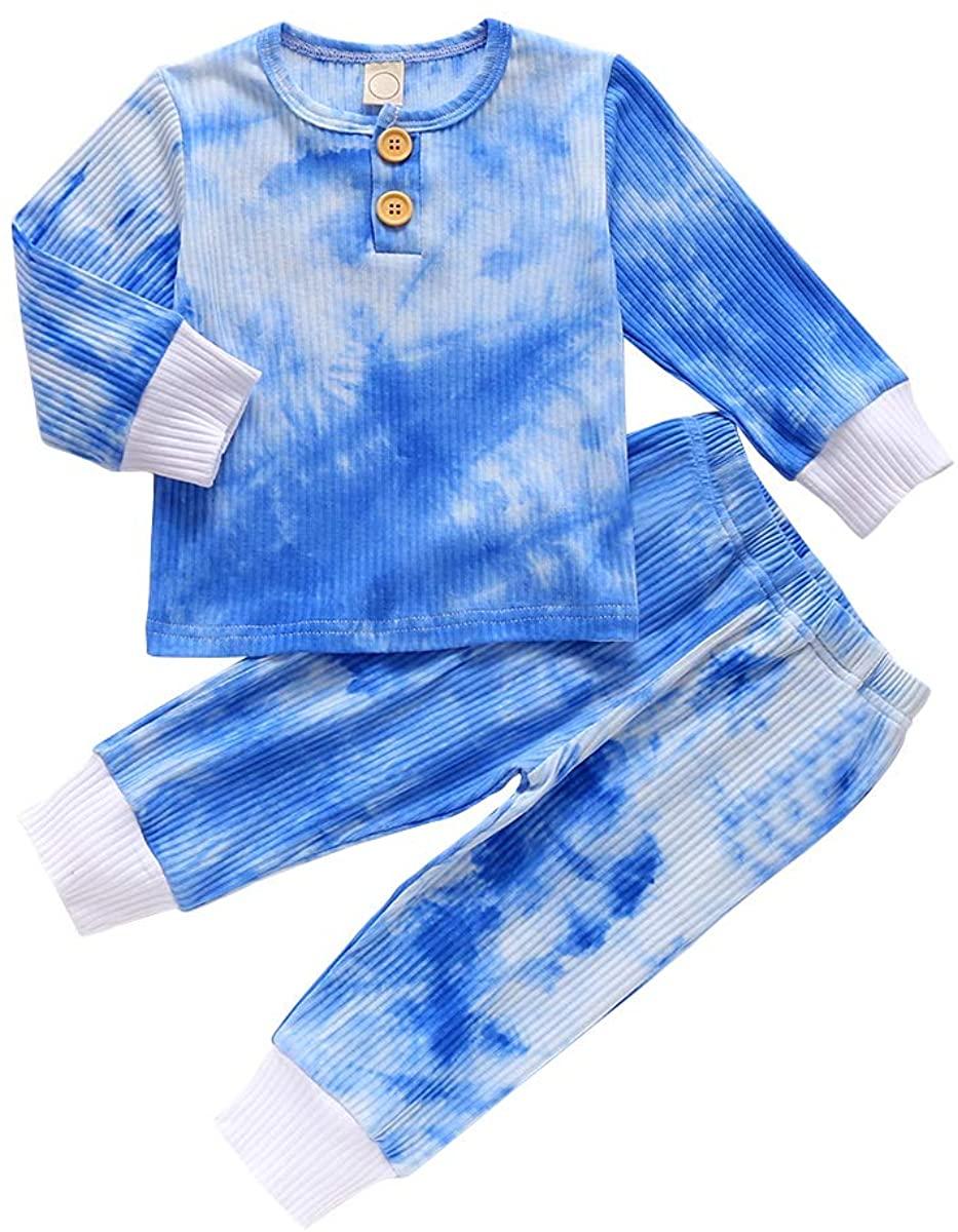 Toddler Baby Girl Boy Tie-Dye Print Pajamas Long Sleeve Pullover Sweatshirt Tops+Long Pant 2PCS Outfit Set