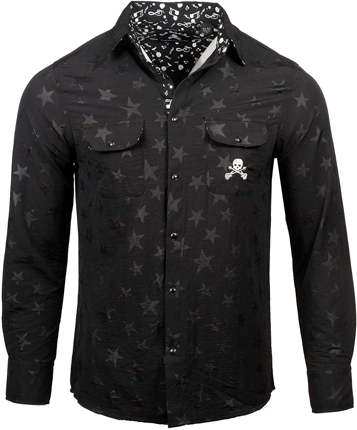 Rock Roll n Soul Men's Rock Shop Ghost Star Patterned Long Sleeve Button-Up Shirt