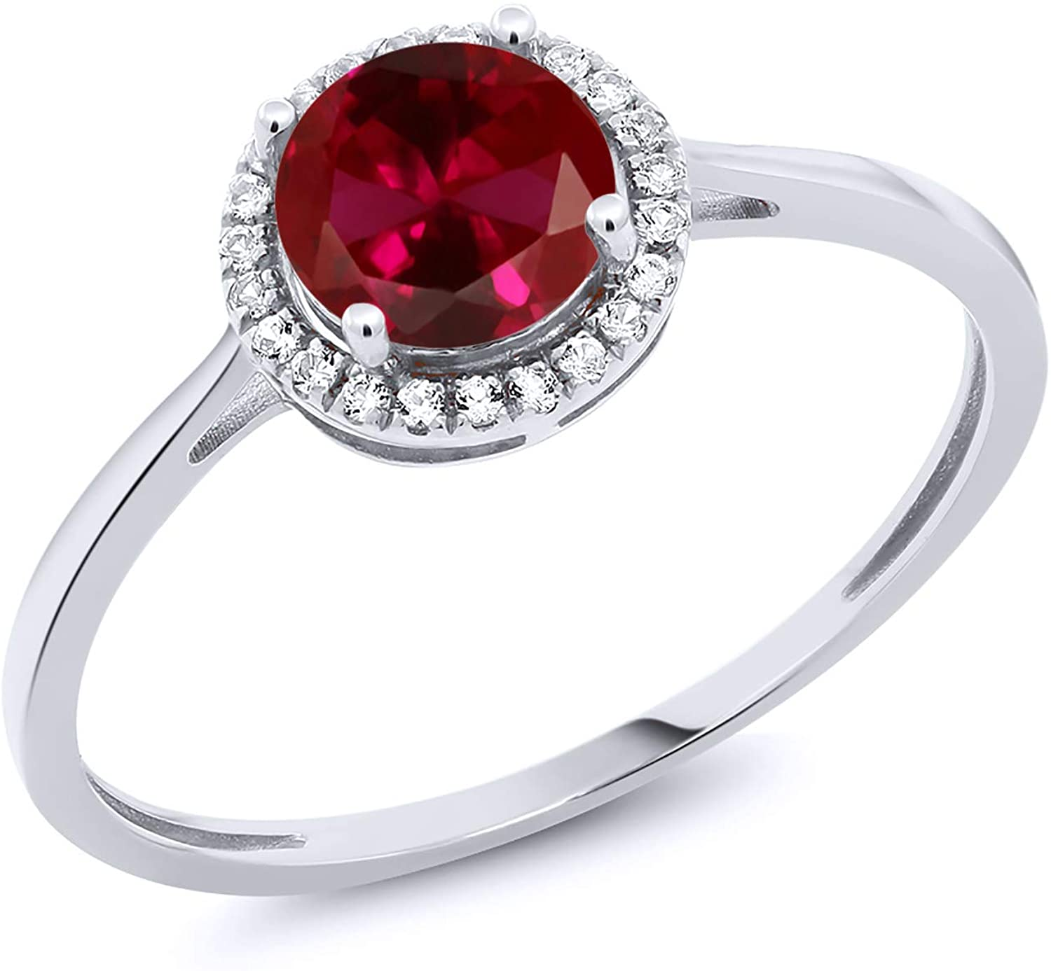 Gem Stone King 10K White Gold Red Created Ruby and Diamond Engagement Ring 1.22 cttw (Available 5,6,7,8,9)