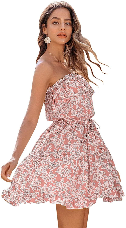 BerryGo Women's Boho Floral Ruffle Dress Tube Top Dress