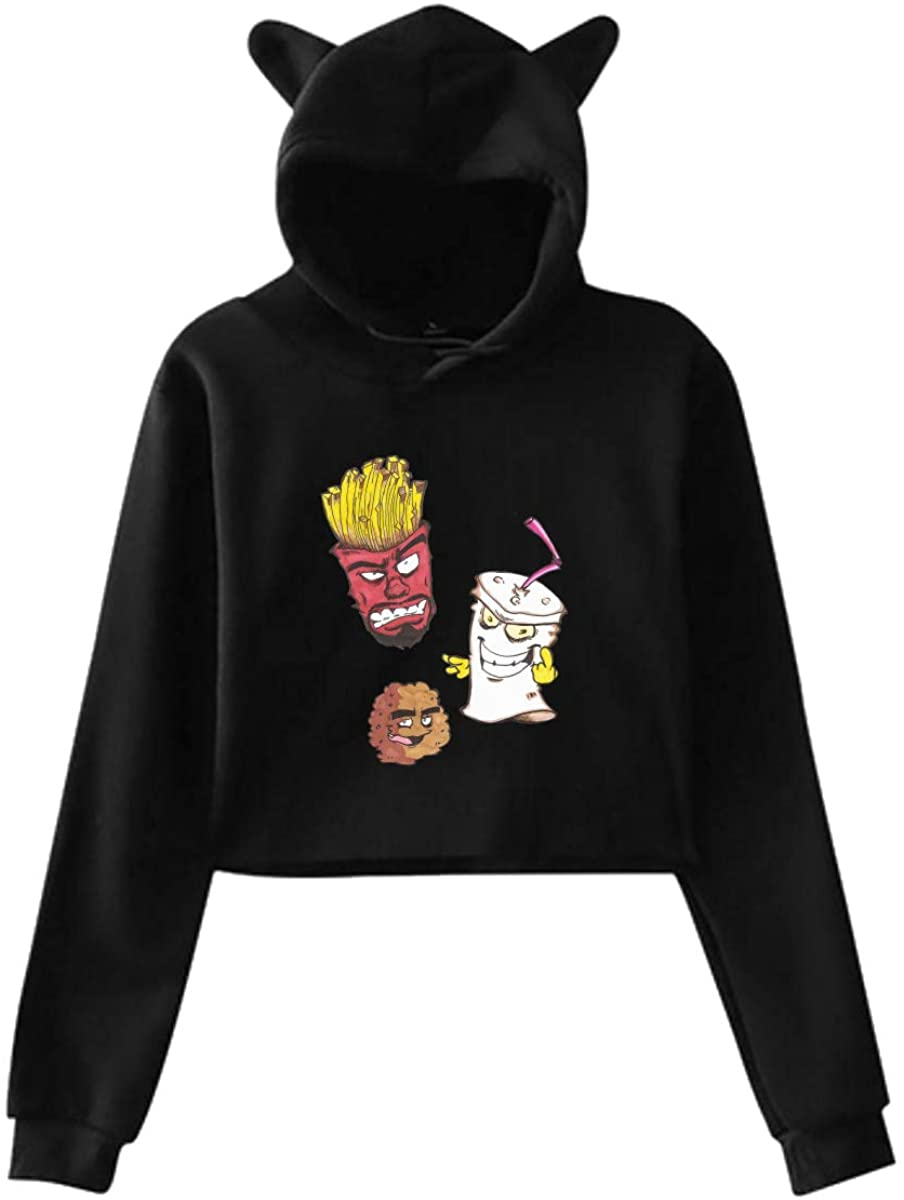 Aqua Teen Hunger Force Cat Ear Hoodie Sweater 100% Polyester Fabric Moderate Hand Feeling Slightly Elastic