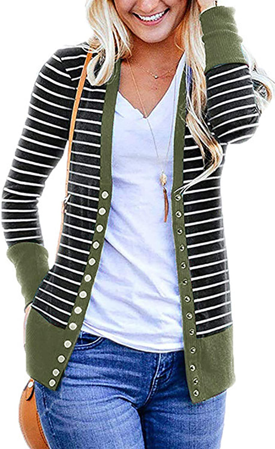 CinShein Women's Striped Cardigan Button Down Knitwear Striped Long Sleeve Knit Ribbed Neckline Sweater Coat