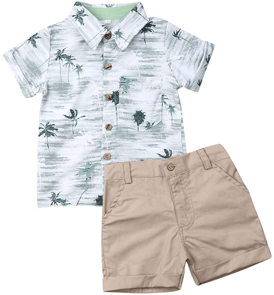 Baby Boys Clothes Kids Short Sleeve Button Down Plaid Shirts Tops Shorts Pants Toddler 2pcs Summer Outfits Set