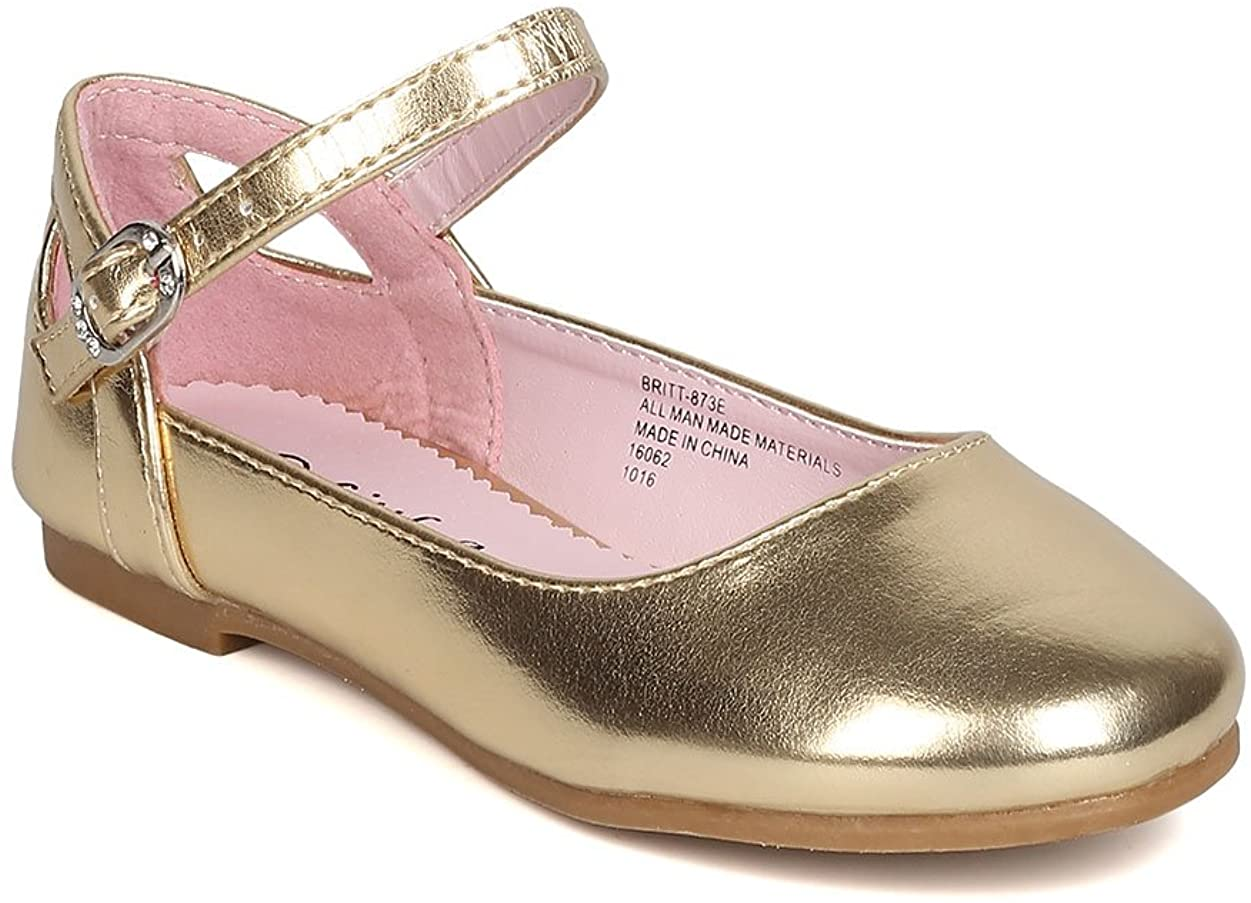 Girls Metallic Leatherette Ankle Strap Cut Out Ballet Flat GB40 - Gold (Size: Big Kid 3)
