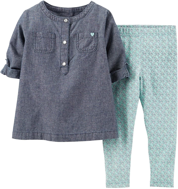 Carters Baby Girls 2 Piece Legging Set (Baby) - Denim/Floral
