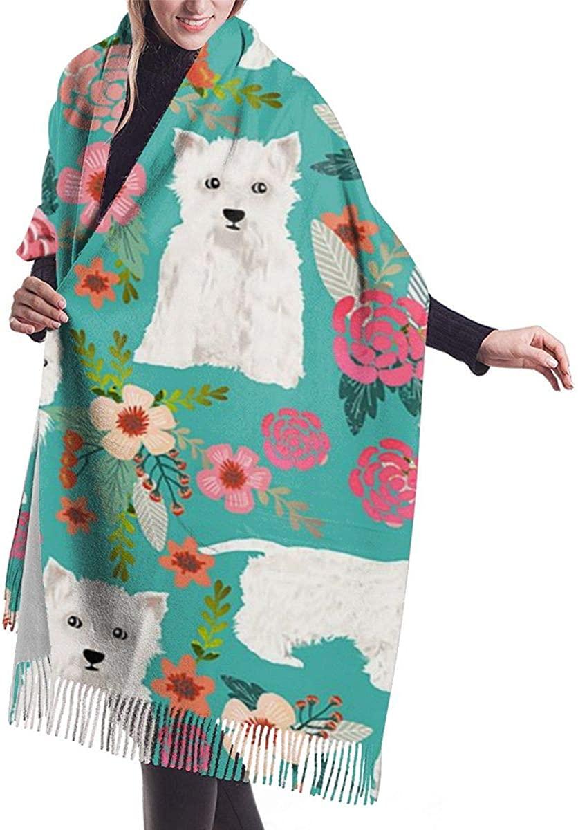 Westie Florals Women's Winter Warm Scarf Fashion Long Large Soft Cashmere Shawl Wrap Scarves