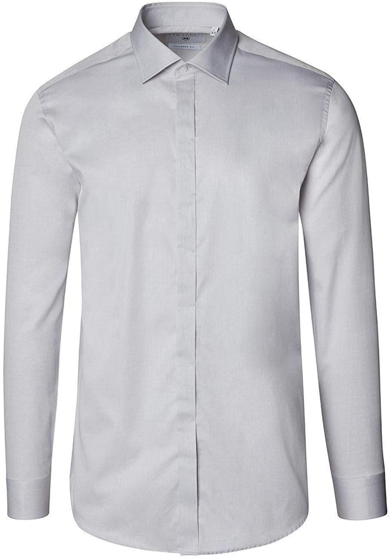 Ron Tomson Pure Cotton Hidden Placket Shirt - Grey