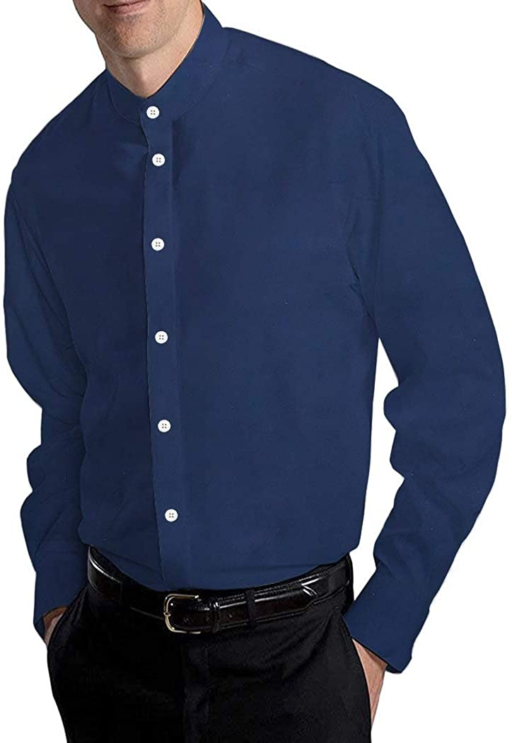 INMONARCH Navy Blue Mens Cotton Nehru Collar Shirt NSHP17035SMALL S (Small) Dark Navy