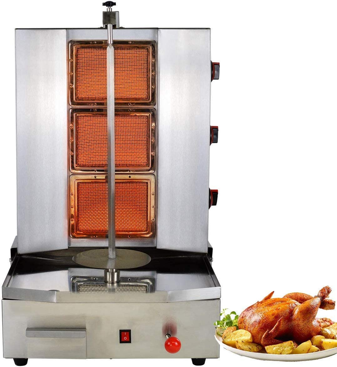 Libai Commercial Shawarma Grill Doner Kebab Propane Gas Machine 3 Burner Gyro Meat Automatic Spinning Vertical Broiler Holder With Meat 25lbs Capacity for Restaurant Home Kitchen Use