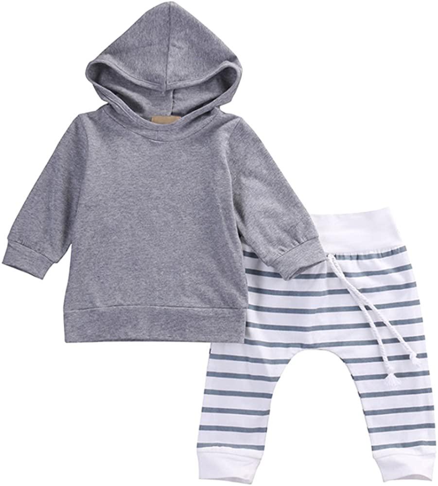 Laurelor Toddler Baby Boy Girl Hoodie Sweatshirt Tops +Striped Pants Legging Set