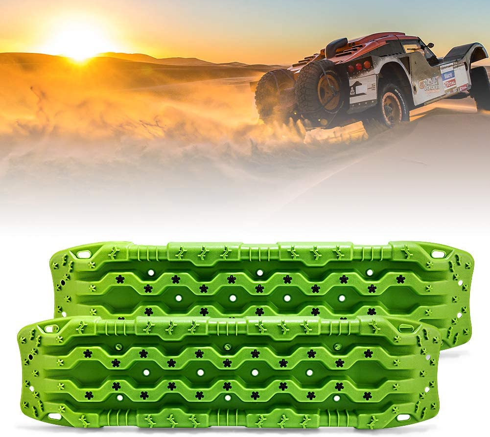 FieryRed Traction Boards - 2 Pcs Traction Mat Recovery for Sand Mud Snow Track Tire Ladder 4X4 - Traction Tracks, Size: 45.3 inch (L) x 13 inch (W) X 2.6 inch (H), Green