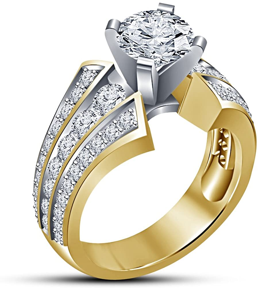TVS-JEWELS Round Cut White Cubic Zirconia 14k Gold Plated Women's Engagement Wedding Ring