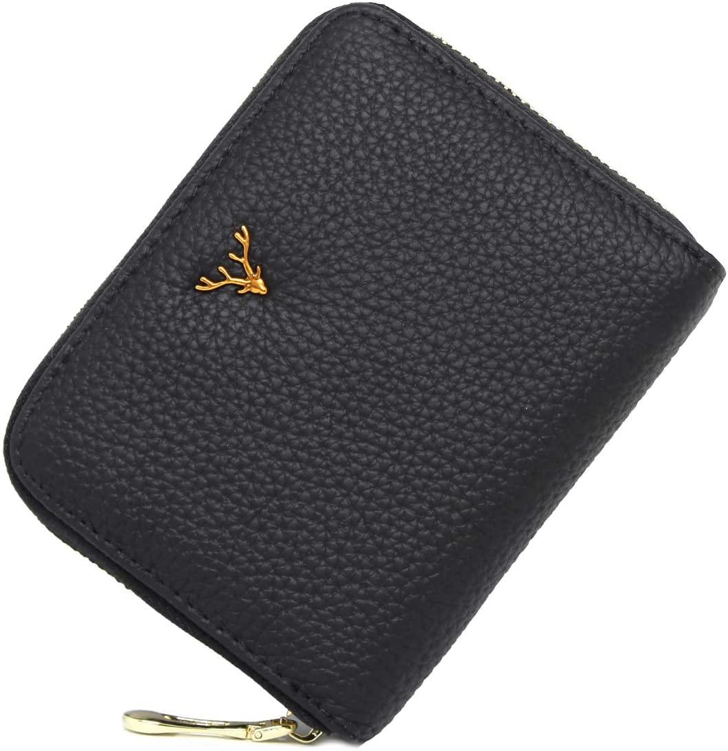 imeetu Card Holder RFID Blocking Leather Zipper Card Case Wallet for Women,M(Black)