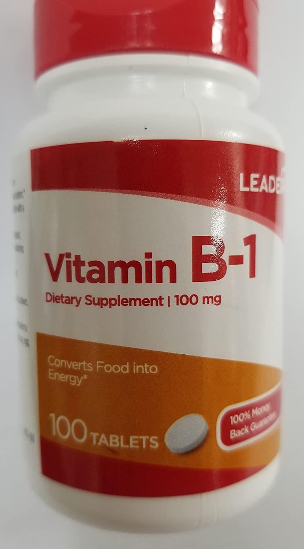 Leader Vitamin B-1 100mg, 100 Tablets Each (Pack of 2)