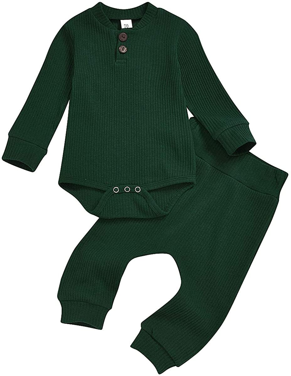 Baby Boys Girls Solid Color Outfit Set Fall Winter Clothes Knitted Cotton Rompers and Pocket Pants 2-Piece Pajama Set