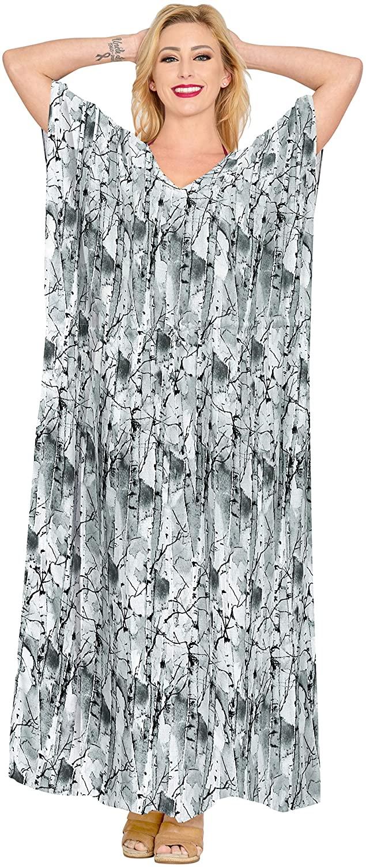 LA LEELA Women's One Size Caftan Robes Dress Evening Party Cover Ups Drawstring