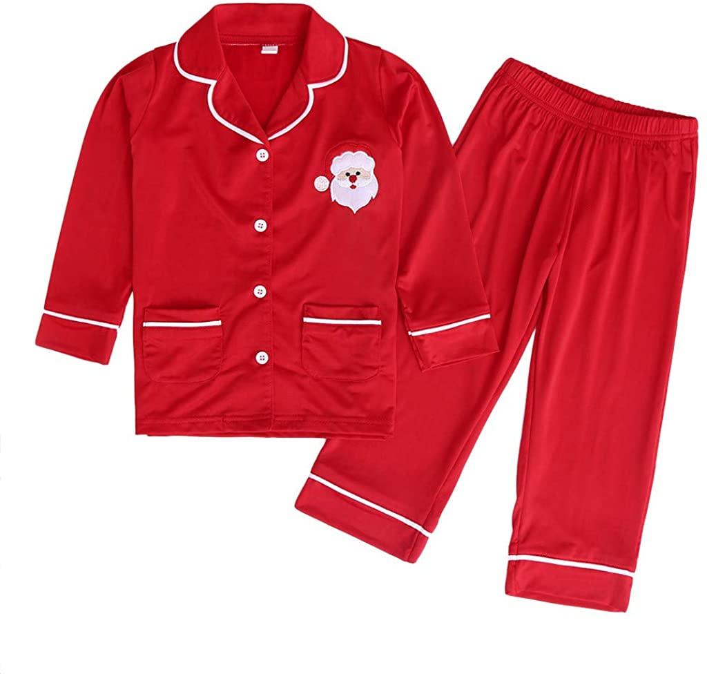 FORESTIME Toddler Baby Boys Girls Christmas Pajamas Set Santa Claus Long Sleeve Cotton Shirt Tops Pants Pajamas Set