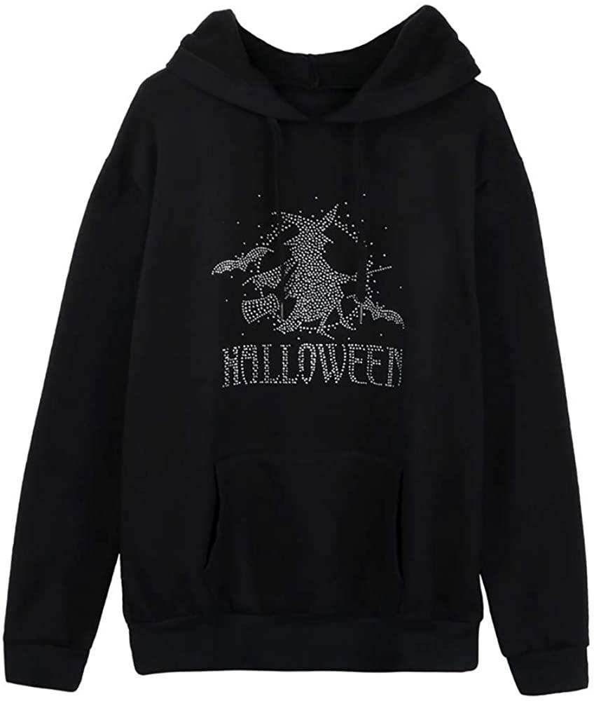 ZEFOTIM Fashion T-Shirts Womens Halloween, Women Halloween Plus Size Long Sleeve Pocket Hooded Neck Blouse Tops