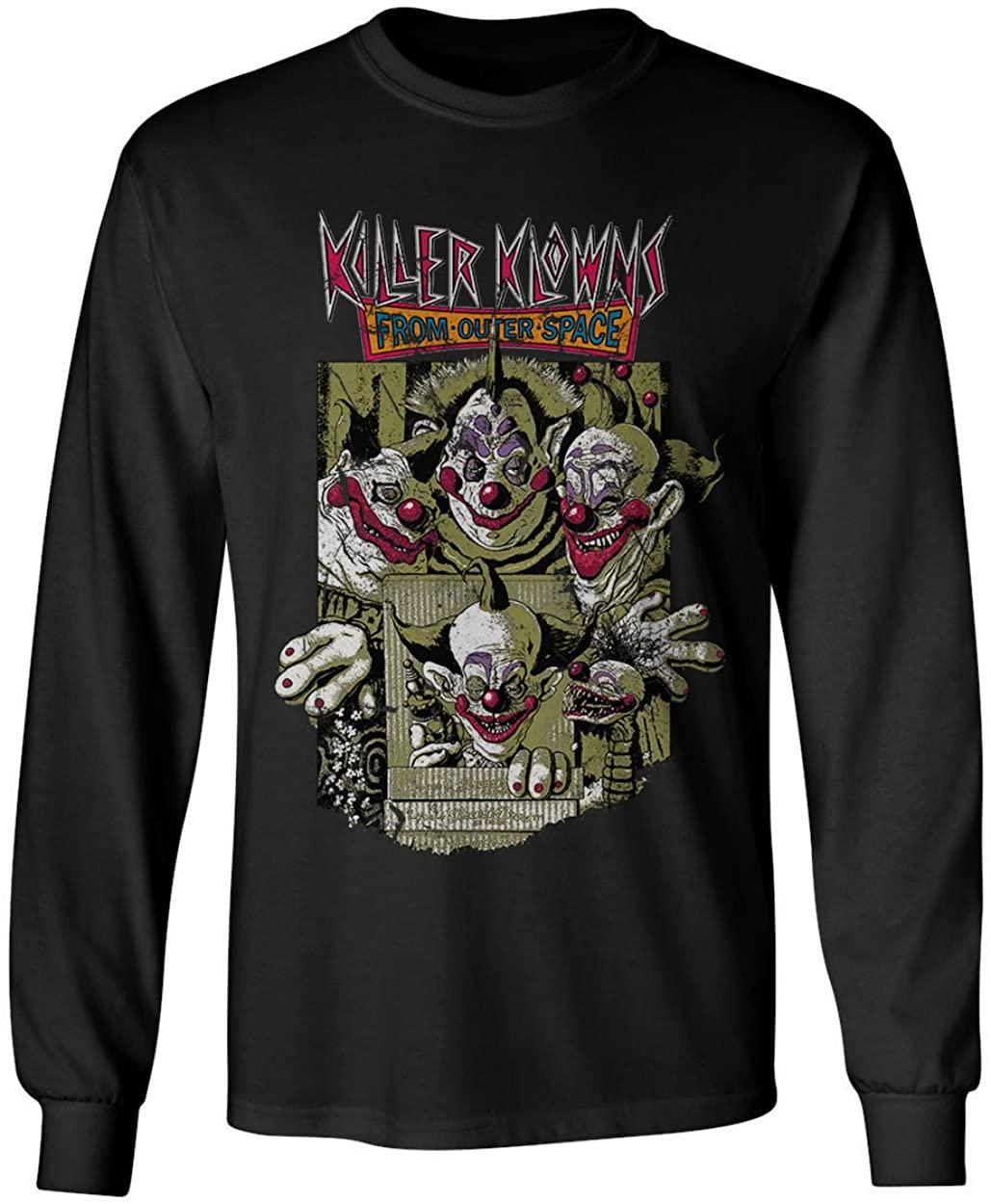 RIVEBELLA New Graphic Shirt Cult Horror Movie Novelty Tee Killer Klown Mens Long Sleeve T-Shirt