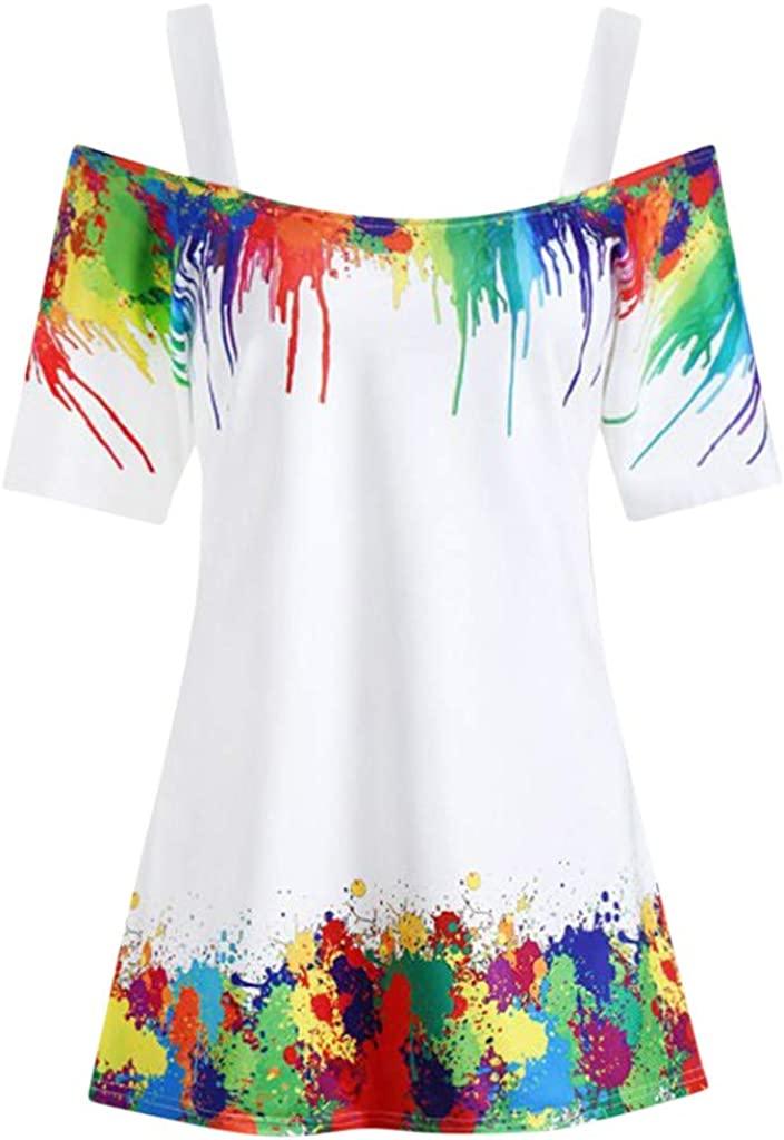 Women Casual T-Shirt Multicolor Top Plus Size Tie Dye Cold Shoulder Blouse Sling Shirt