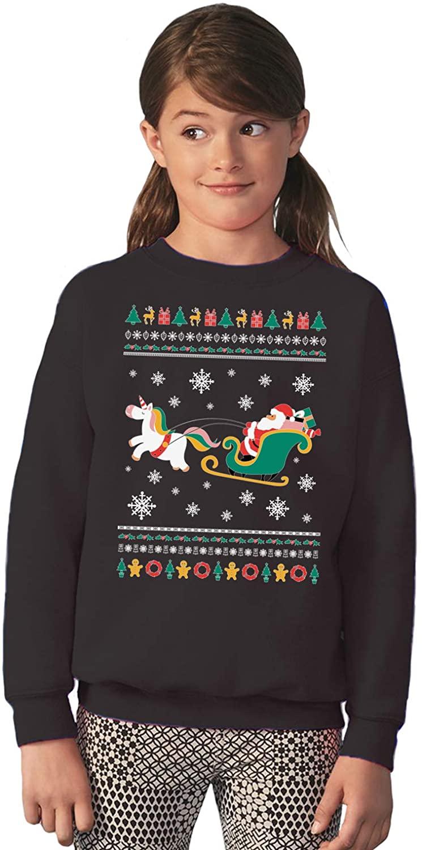 Vizor Funny Ugly Christmas Holidays Sweater for Boys Girls Kids Youth Xmas Santa with Unicorn Sweatshirt
