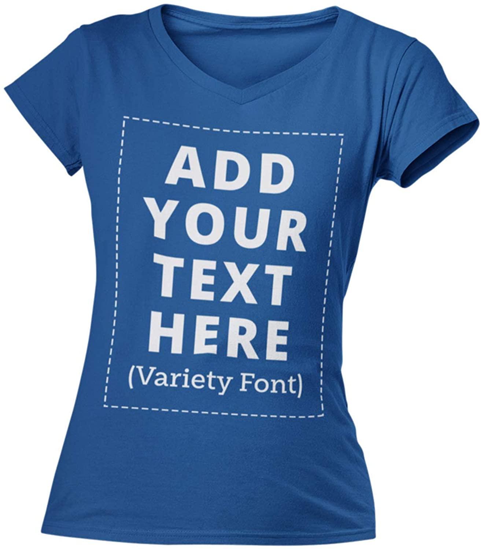 Custom V-Neck Women T-Shirts Personalized Add Your Own Text, Custom Made V Neck Women Shirt