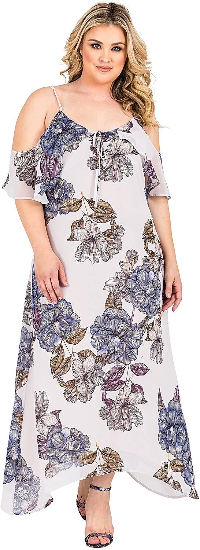 Standards & Practices Plus Size Womens Floral Chiffon Cold Shoulder Ruffle Dress
