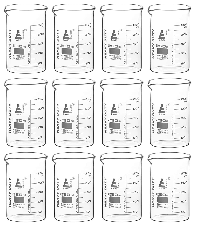 12PK Heavy Duty Beakers, 250ml - 5mm Thick, Uniform Walls - Superior Durability & Chemical Resistance - White Graduations - Borosilicate 3.3 Glass - Eisco Labs