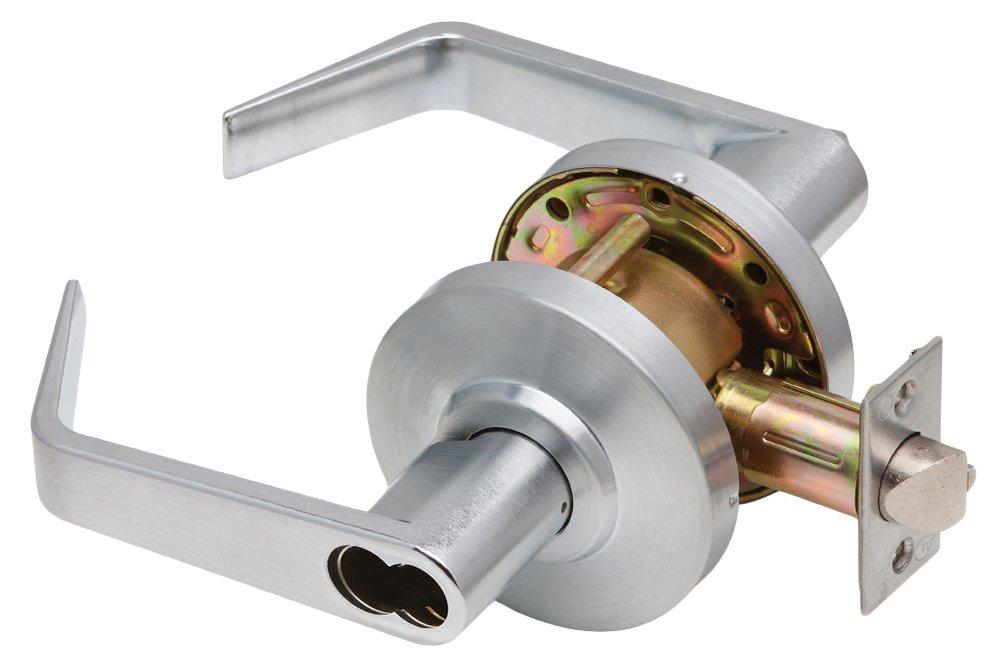 Dexter Commercial Hardware C2000-ENTR-R-605-SFIC Regular Lever, Non Handed, Grade 2, Less SFIC, Keyed Entry, Bright Brass