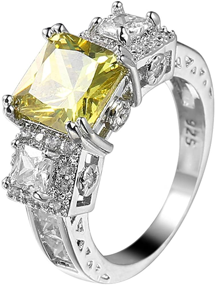 XAHH 925 Sterling Silver 3 Ct Princess Cut Yellow Cubic Zirconia CZ Engagement Wedding Ring Size 6 to 10