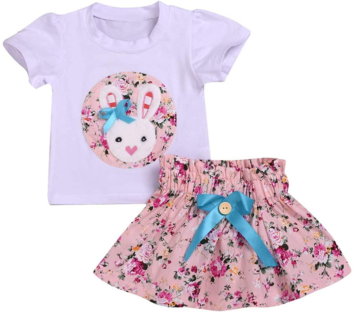 Toddler Kids Baby Girl Easter Skirt Outfit Bunny Rabbit Short Sleeve T-Shirt Top + Floral Tutu Skirt Clothing Set