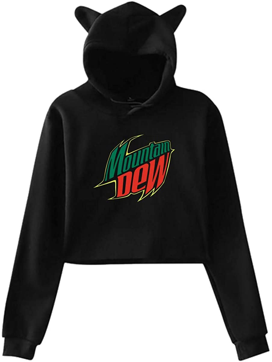 Mountain Dew Cat Ear Hoodie Sweater 100% Polyester Fabric Moderate Hand Feeling Slightly Elastic