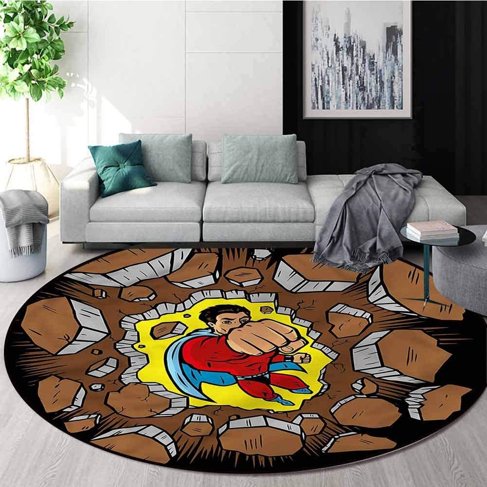 RUGSMAT Superhero Area Rugs Traditional Design,Strong Man Success Heroic Area Rug - Perfect for Any Place Diameter-39